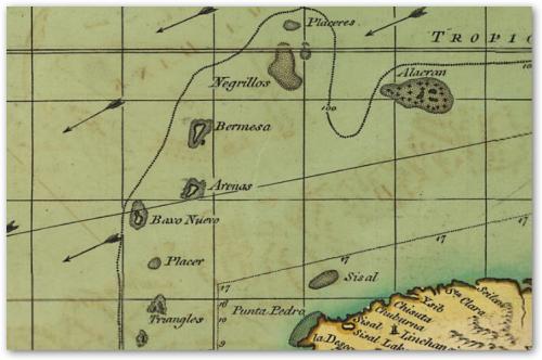 Acercamiento, Isla 'Bermesa' (la carta fue hecha por un inglés)