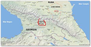 Ubicación geofráfica (aproximada) de Osetia del Sur