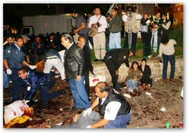 Anoche, en pleno festejo patriótico arrojaron 3 granadas, hay 7 muertos y 101 heridos