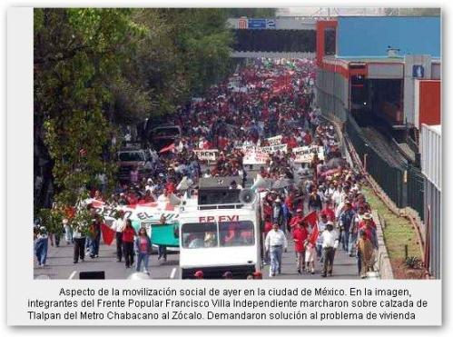Varias manifestaciones de protesta el 1 de septiembre (foto del diario La Jornada)