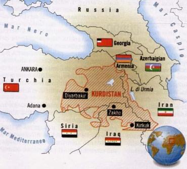 Localización geográfica del Kurdistán