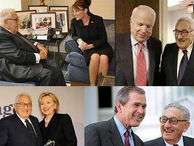 Kissinger aconseja a la republicana Sarah Palin, apoya a Hillary Clinton (demócrata), ayuda al fállido candidado presidencial republicano McCain que perdió contra Obama, y trabaja con Jeb Bush, gobernador del estado de Florida, hermano de George W. Bush.