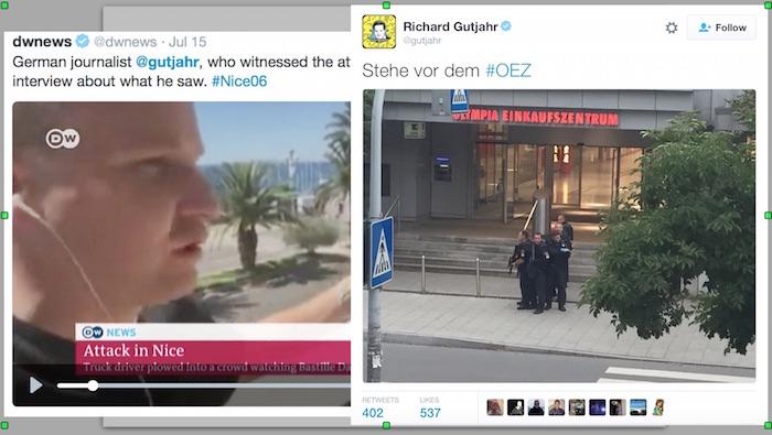El fotografo de el Mossad, Richard Gutjahr estuvo presente tanto en el ataquer en Niza y en el atentado de Munich! Después que el artículo fue publicado, los tweets de Richard Gutjahr fueron borrados de Twitter.